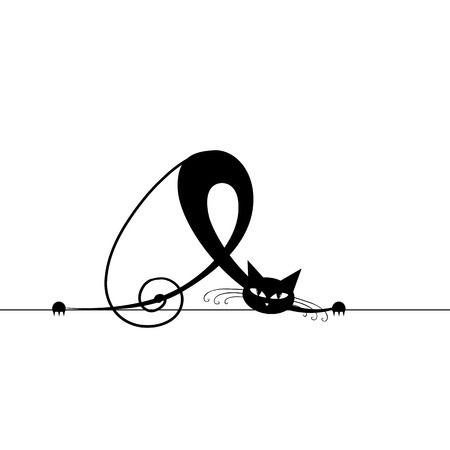 black and white line drawing: Black cat silhouette for your design