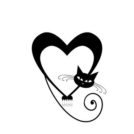 Amour cat silhouette pour votre conception