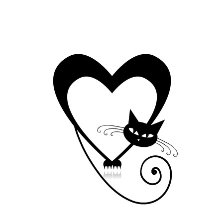 black and white image drawing: Love cat silhouette for your design