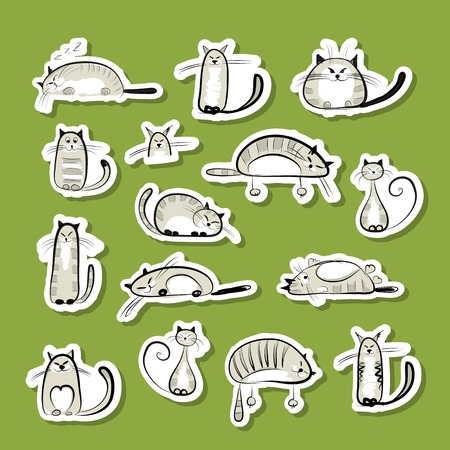 Stickers with funny cats for your design Vector