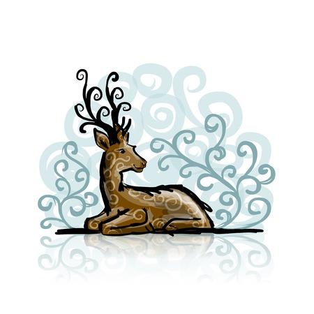 horny: Deer sketch for your design Illustration