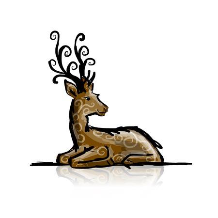Deer sketch for your design Vector