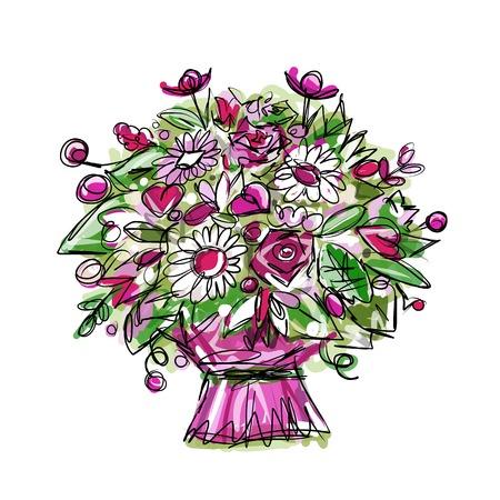 Floral bouquet, sketch for your design Vector