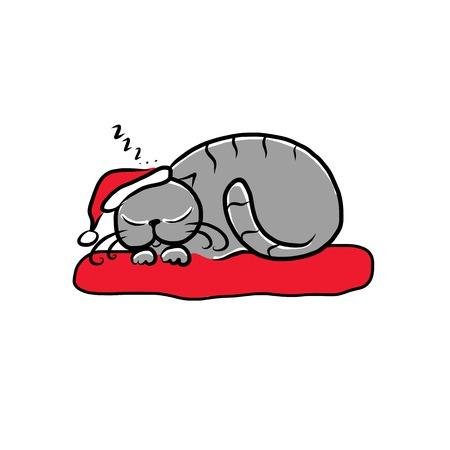 Santa cat sleeping, sketch for your design Illustration