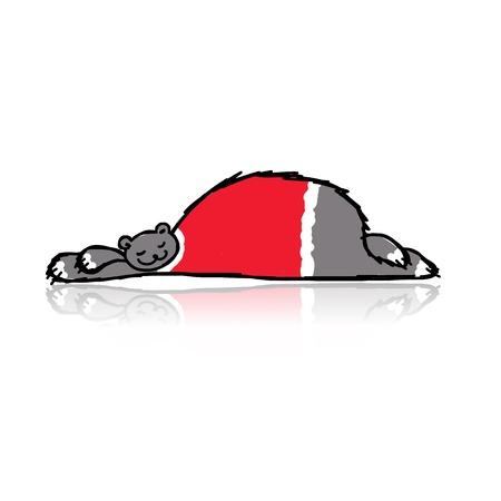 Santa bear sleeping, sketch for your design Vector
