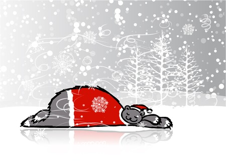 Santa bear sleeping, sketch for your design Vector