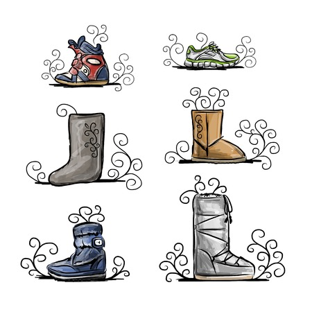 Season shoes collection, sketch for your design Vector