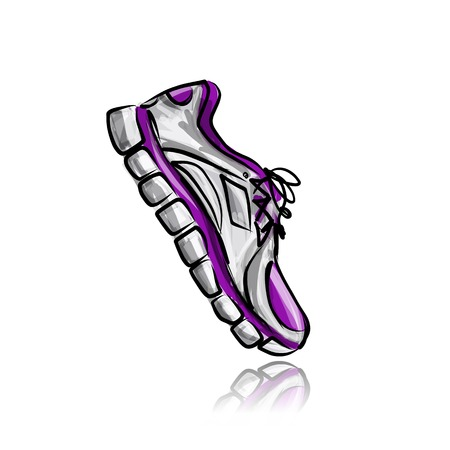 running shoe: Sport sneakers, sketch for your design