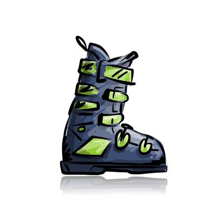 スキーのブーツ、あなたの設計のためのスケッチ  イラスト・ベクター素材