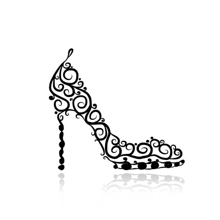 Female shoes, sketch for your design