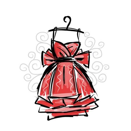 Dress on hangers, sketch for your design Vector