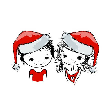 santa girl: Santa girl and boy, sketch for your design