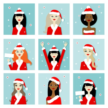 Santa girls, christmas postcards for your design Vector