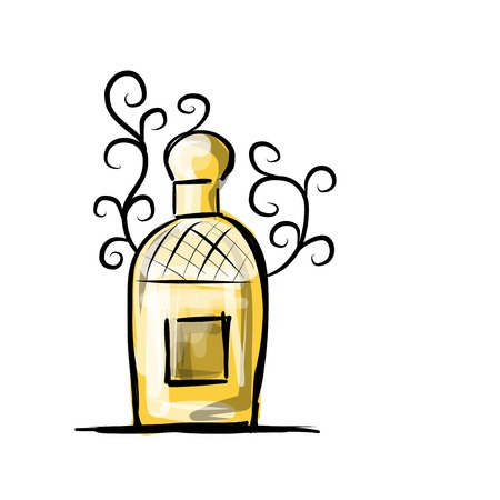 perfum: Sketch of perfume bottle for your design
