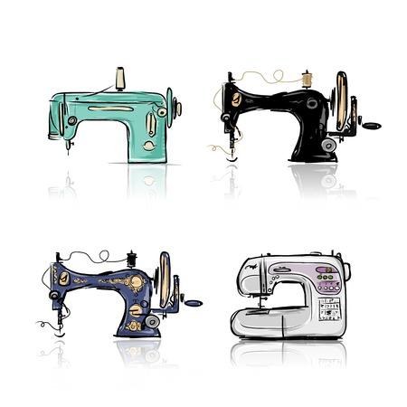 복고풍 재봉틀의 컬렉션 디자인을위한 스케치 일러스트