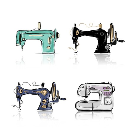 machines: Collection of retro sewing machine, sketch for your design