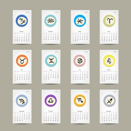 Calendar grid 2015, zodiac signs design Vector