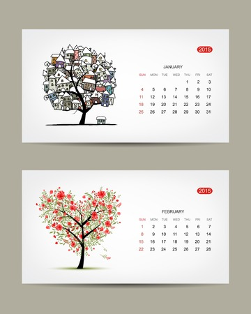 Vector calendar 2015, january and february months. Art tree design