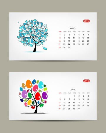 Vector calendar 2015, march and april months. Art tree design Vector