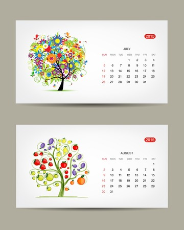 dates fruit: Calendar 2015, july and august months. Art tree design