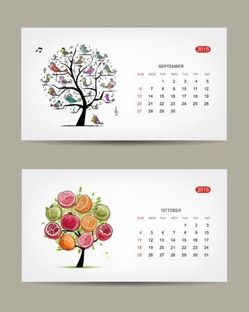 Calendar 2015, september and october months. Art tree design Vector