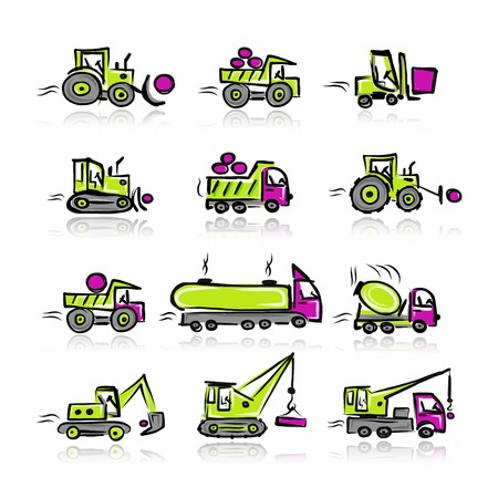 crawler tractor: Set of construction equipment for your design