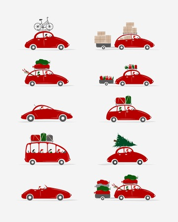 Set of different red cars with luggage for your design Vector