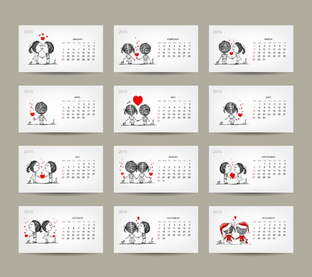 Calendar grid 2015 design. Couple in love together Vector
