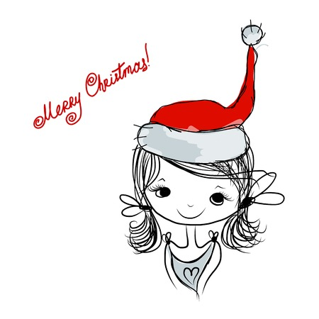santa girl: Santa girl portrait, sketch for your design