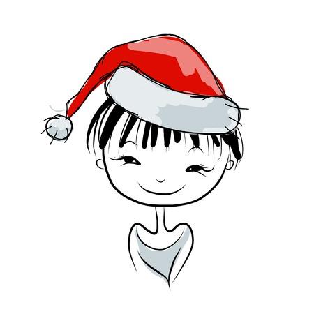 santa girl: Santa girl portrait, sketch for your design