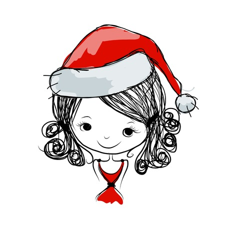 Santa girl portrait, sketch for your design Vector