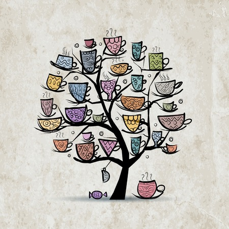 Art tree with mugs and cups.