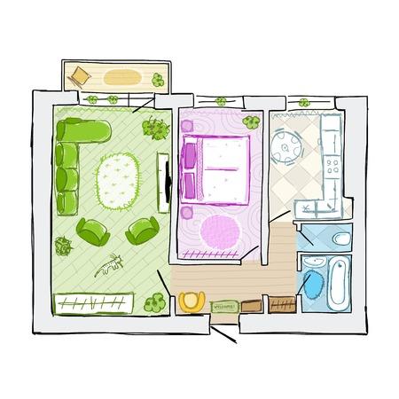 Sketch of design interior apartment, hand drawn vector illustration Illustration