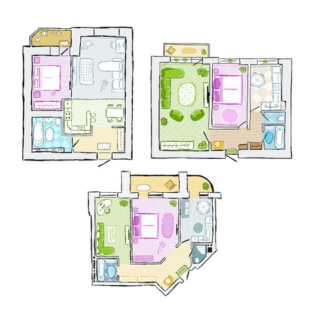 Set of interior apartment, sketch for your design Vector