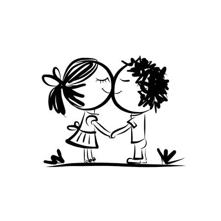 dessin noir et blanc: Couple dans l'amour ensemble, croquis de valentine pour votre conception