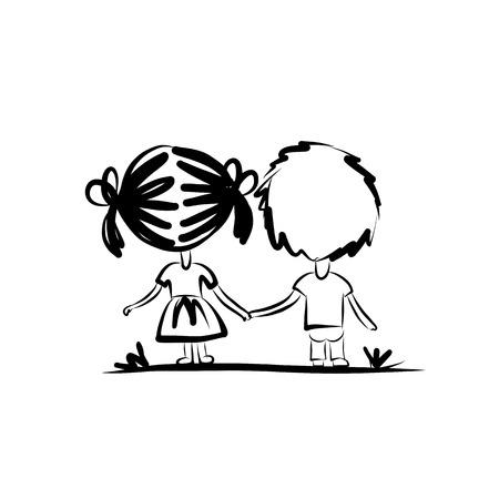 Couple dans l'amour ensemble, croquis de valentine pour votre conception Banque d'images - 34480264