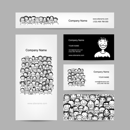 Business cards collection, people crowd design Ilustração