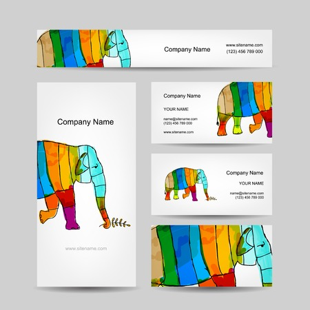 painted the cover illustration: Funny striped elephant. Business card for your design