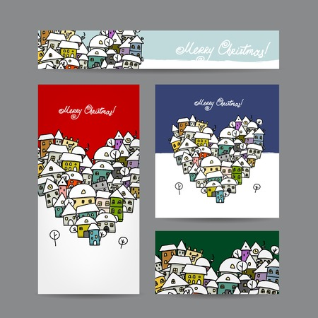Christmas cards with winter city sketch for your design Vector