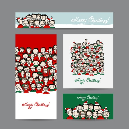 Christmas cards with people crowd for your design Çizim
