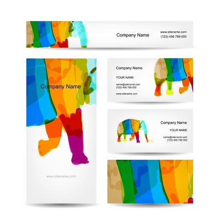 Funny striped elephant. Business card for your design Vector