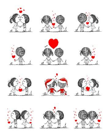 Couple dans l'amour ensemble, croquis de valentine pour votre conception Banque d'images - 35646695