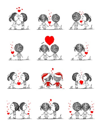 Couple in love together, valentine sketch for your design Stock Vector - 35646695