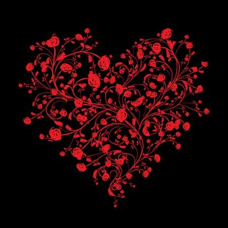 love shape: Floral love bouquet for your design, heart shape Illustration