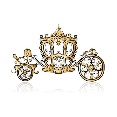 Gouden koets, schets voor uw ontwerp