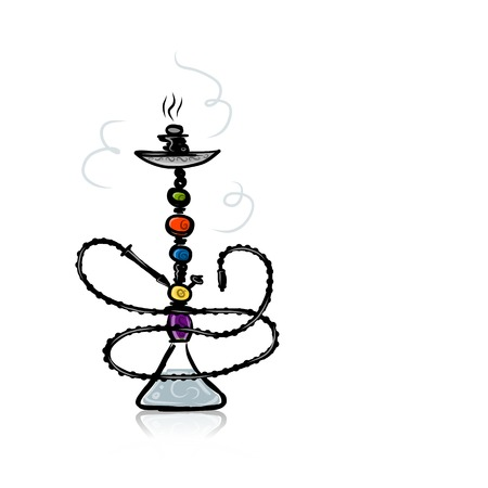 shisha: Hookah sketch for your design Illustration