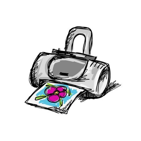 Printer sketch for your design Vector