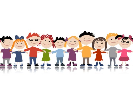 kindergarten: Funny children, seamless pattern for your design