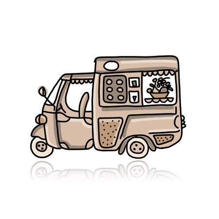 Mobile cafe with desserts, sketch for your design Vector
