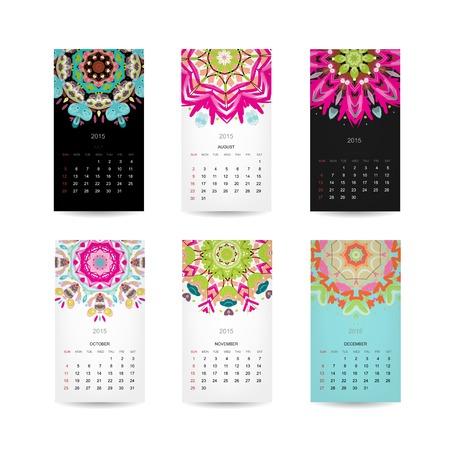 Calendar grid 2015 for your design, floral ornament Illustration